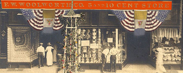 A Woolworth 5 & 10¢ Store dressed with flags and bunting to mark the end of the First World War