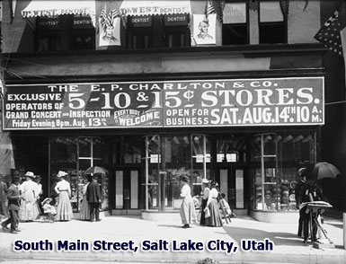A brand new E.P. Charlton & Co. store in South Main Street, Salt Lake City, Utah which opened on 14 August 1909