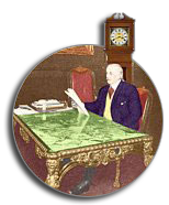 Frank Winfield Woolworth sits at his Louis Quattorze desk in the Empire Room atop the Woolworth Building, tallest in the world.  This picture was taken in 1919 shortly before Frank's death.