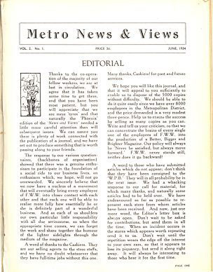 Metropolitan News and Views - the unofficial house journal of F. W. Woolworth & Co. Ltd. Metropolitan Region. Volume 2, Edition 1 was professionally printed in the Quarto page-size which was to become a hallmark of company magazines for the next ten years. It was printed by Duttons of Liverpool.