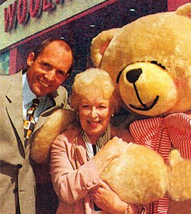 Brian Bower, General Manager of the Edgware Road superstore, receives recognition from superstar June Whitfield for donating five pence of the purchase price of every Forever Friends cards to Variety Club Sunshine Coaches for a remarkable ten years (Summer 1997)