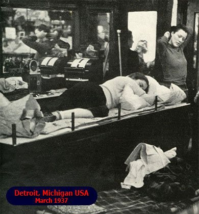 Five-and-ten girls took over the large Woolworth store in Detroit, Michigan in a sit-in and sleep-in protest in March 1937. They were fighting for union recognition and a minimum wage of $8 a week.