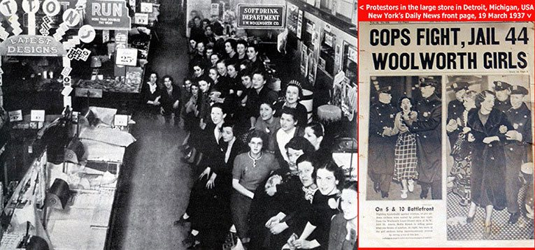 Battlefront Woolworth, as five-and-ten staff take on their management with demands for union recognition and $8 a week in March 1937. Frank Woolworth once said that all publicity was good, but might have considered this type of coverage an exception!