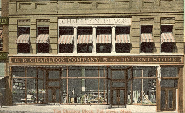 The enlarged and improved E.P.Charlton & Co. Five and Ten Cent Store at 91-93 Main Street, Fall River, Massachusetts. Business was transferred to this location on 28 February 1908. (Image with special thanks to Mr Scott Oakford)