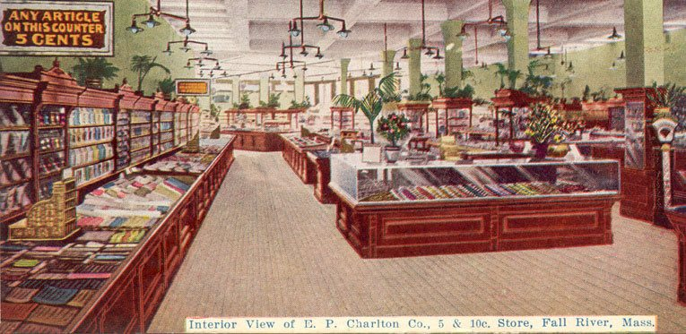 An interior view of the E.P. Charlton & Co. Five-and-Ten Cent Store in South Main Street, Fall River, Massachusetts, pictured in February 1908