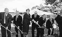 "Participating in the 28 September 2001 groundbreaking ceremony for the Charlton College of Business were (left to right) Trustee Peter Lewenberg, UMass President William Bulger, Chancellor Jean F. MacCormack, former UMD President William C. Wild, Earl Perry ""Chuck"" Charlton II, former Dean Richard Ward and Dean Ronald McNeil."