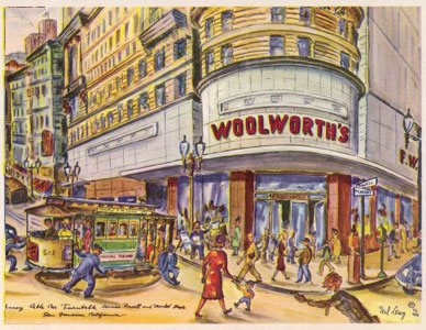 A picture postcard for tourists with a fabulous cartoon drawing of the Woolworth's store on the corner of Market and Powell in San Francisco