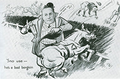 A cartoon drawing of 'Snowfire' a.k.a. John Ben Snow, from the souvenir booklet 'As others see you' from the F.W. Woolworth Annual Dinner in 1935